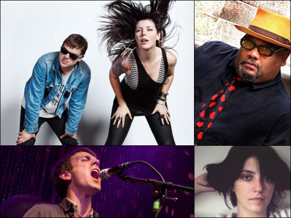 Clockwise from top left: Sleigh Bells, Stew, Sharon Van Etten, Jonathan Meiburg of Shearwater.