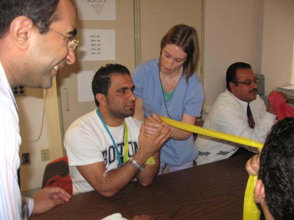 Libyan patients being treated at Spaulding Hospital in Salem, Mass., receive physical therapy for injuries to their hands, shoulders and arms.