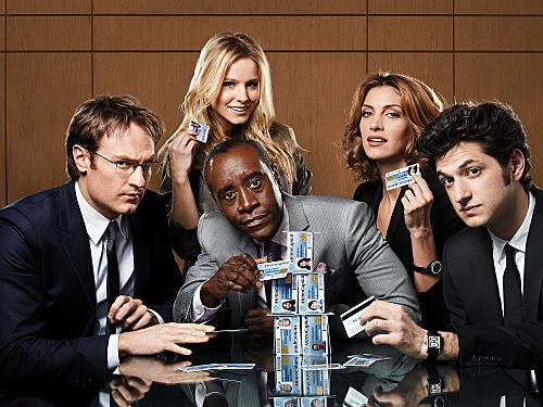 In <em>House of Lies</em>, Don Cheadle and Kristen Bell play management consultants who are willing to do whatever it takes to get a deal finished.