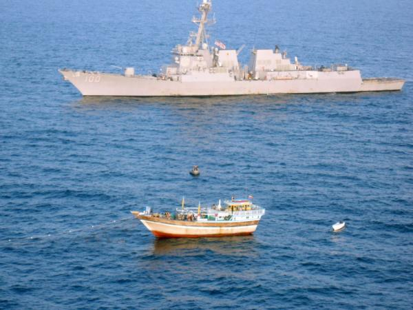 Thursday: The guided-missile destroyer USS Kidd responds to a distress call from the master of the Iranian-flagged fishing dhow Al Molai.