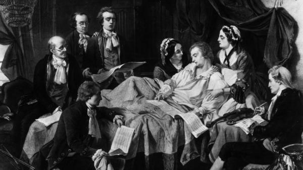 A 1791 painting Wolfgang Amadeus Mozart on his deathbed, surrounded by his wife and friends.