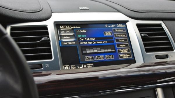A Ford dashboard as it would look when connected to the NPR News app.