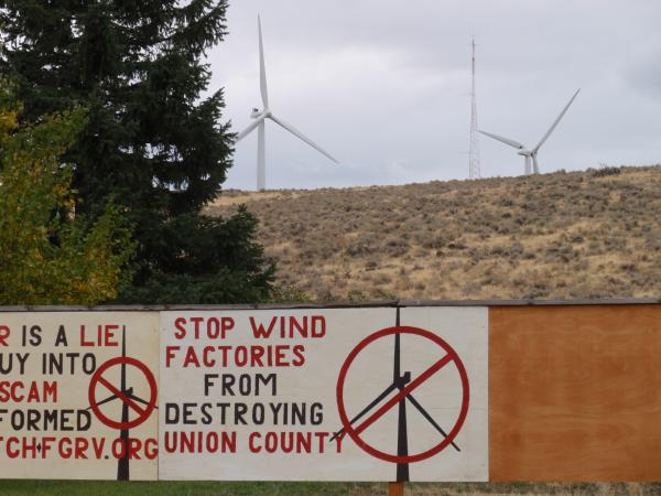 Upset neighbor of a wind farm in Union County, Oregon. By Tom Banse.