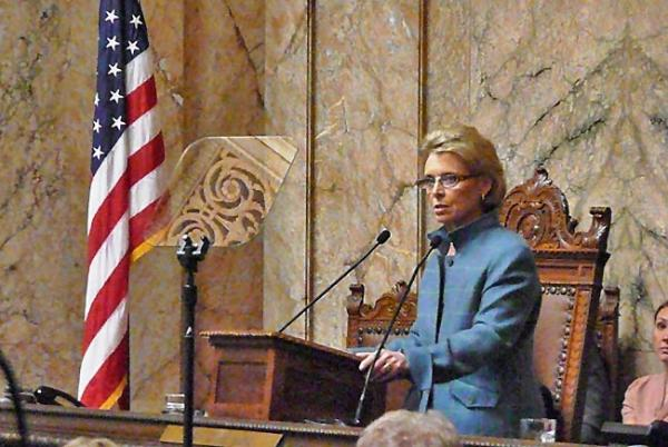Washington Gov. Chris Gregoire Used Her State Of The State To Propose A $1.50 Per Barrel Charge On Oil For Transportation. Photo by Azusa Uchikur