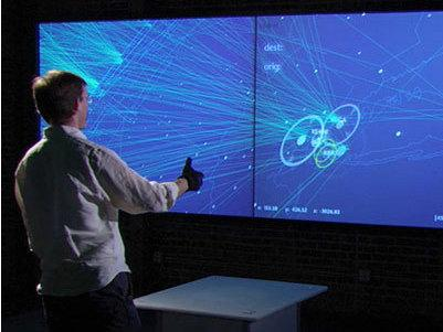 A demonstration of Oblong's g‑speak SOE (spatial operating environment), technology that was featured in the film <em>Minority Report</em>.