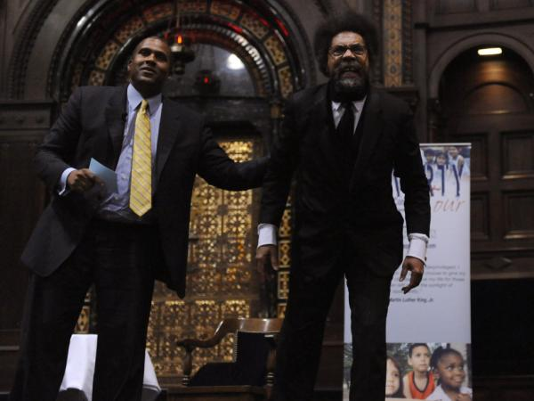 Princeton professor Cornel West (right) and talk show host Tavis Smiley (left) on their 18-city poverty tour on Oct. 9, 2011.