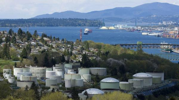 Oil storage tanks at the Chevron Burnaby Oil Refinery on the shores of Burrard Inlet, east of Vancouver, B.C.
