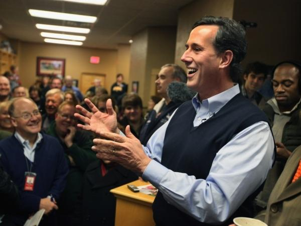 Rick Santorum speaks at the Daily Grind coffee shop on Jan. 1, 2012 in Sioux City, Iowa.
