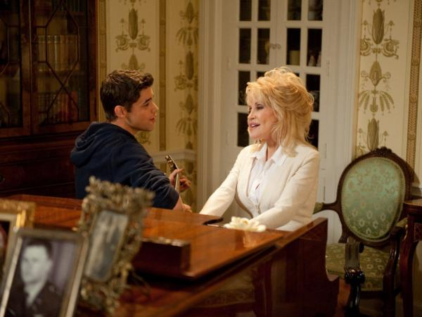 "Dolly Parton and Jeremy Jordan sing ""From Here to the Moon and Back,"" written by Parton."