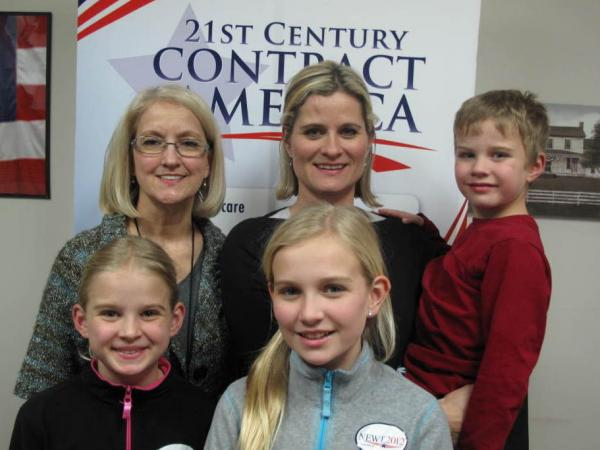 The family poses for a snapshot at Newt Gingrich's campaign headquarters in Greenville, S.C. Back row, left to right: grandmother Carolyn Ball with her daughter, Sondra Ziegler; Ziegler's 5-year-old son, Sam.   Front row, left to right: 9-year-old Alexandra and 10-year-old Abigail Ziegler.