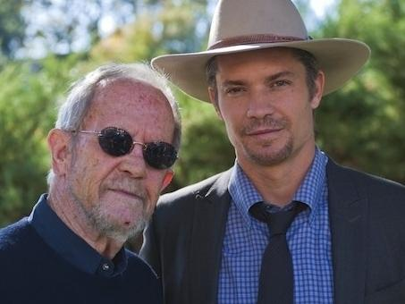 Crime novelist Elmore Leonard with <em>Justified</em> star Timothy Olyphant.
