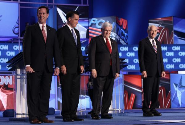 Republican presidential candidates, left to right: former U.S. Sen. Rick Santorum, former Massachusetts Gov. Mitt Romney, former House Speaker Newt Gingrich, and Texas Rep. Ron Paul at a debate Thursday in Charleston, S.C.