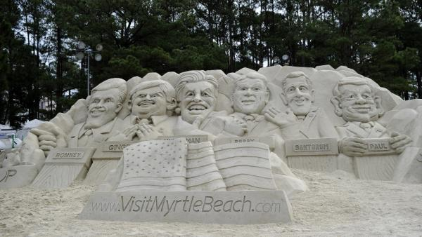 The presidential election brings out the media's obsession with regional differences. Reporters and politicians do stand-ups from cornfields in the Midwest, beaches in California, honky-tonks in Texas — and in front of this sand sculpture of the GOP candidates in Myrtle Beach, S.C., last weekend.