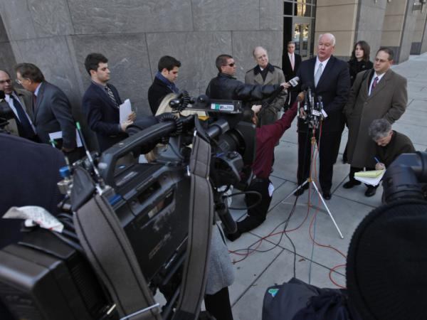 Joseph Nixon, attorney for the Rick Perry campaign, speaks to the media outside federal court in Richmond, Va., on Jan. 13. A federal judge refused Perry and other candidates' request to be added to the Virginia ballot.
