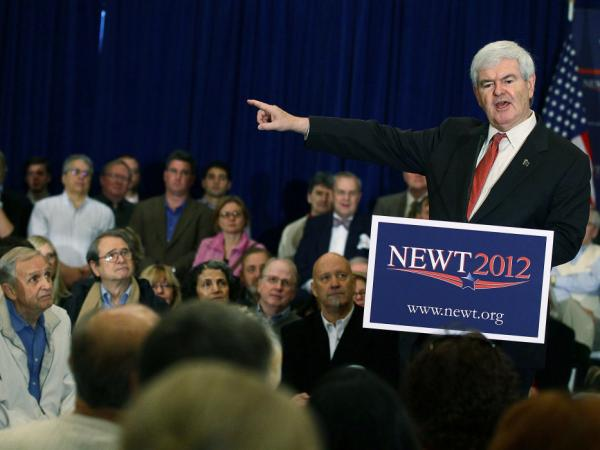 Former Speaker of the House Newt Gingrich speaks during an event on Jan. 11 in Rock Hill, S.C., just over the border from North Carolina.