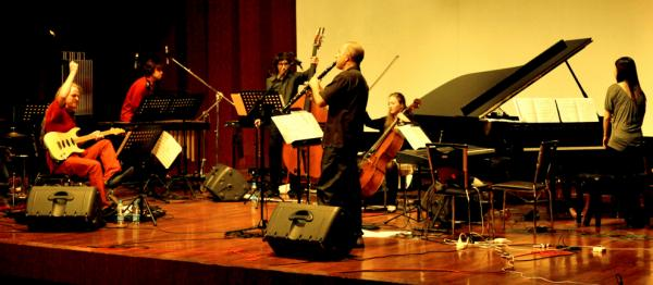 Members of the Bang on a Can All-Stars playing in Shanghai in 2009.