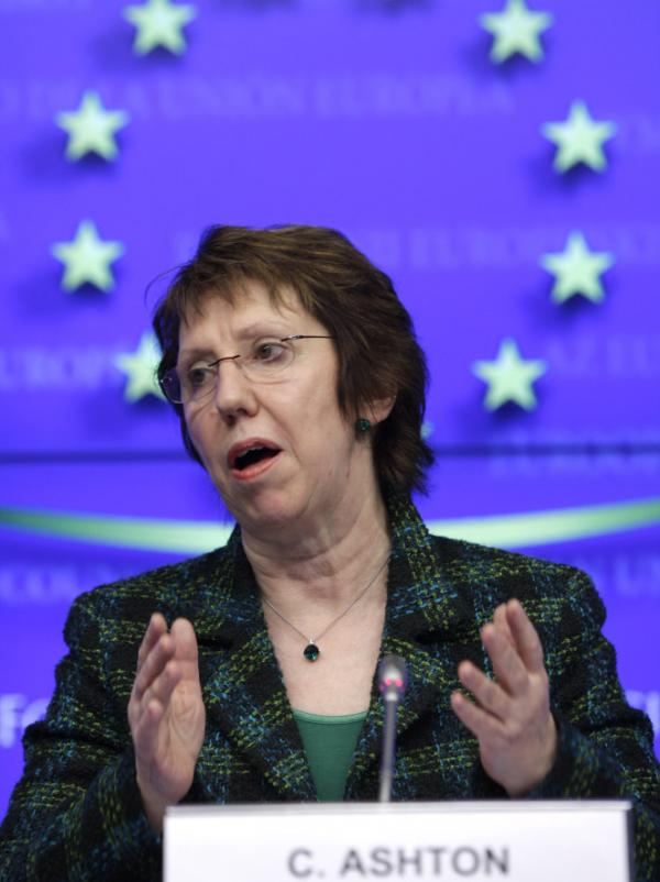 The EU has agreed to an embargo on buying oil from Iran in the latest sanction against that country for its nuclear program. Catherine Ashton, the EU foreign policy chief, speaks here in Brussels on Monday following a meeting of EU foreign ministers.