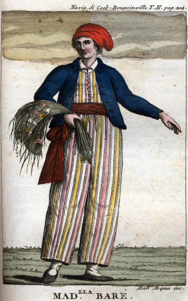 Jeanne Baret in loose-fitting clothes.