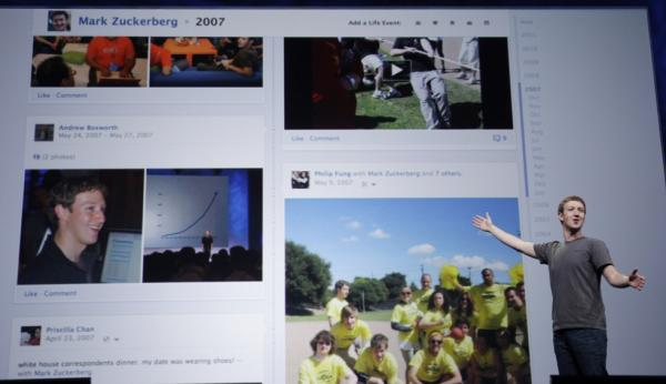 Facebook CEO Mark Zuckerberg shows Timeline during the f/8 conference in San Francisco in September.