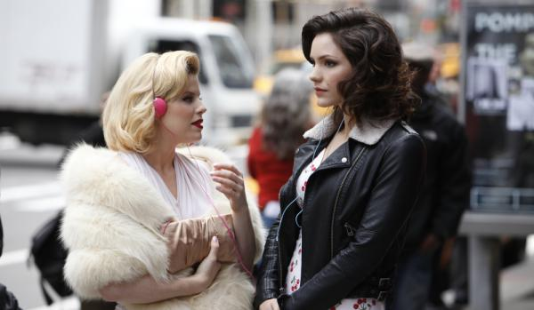 <strong>Ingenue or Leading Lady:</strong> Ivy Bell (Megan Hilty, left) and Karen (Katharine McPhee, right) compete for the coveted lead role in a new Marilyn Monroe Broadway musical in <em>Smash</em>, which premieres Feb. 6 on NBC.