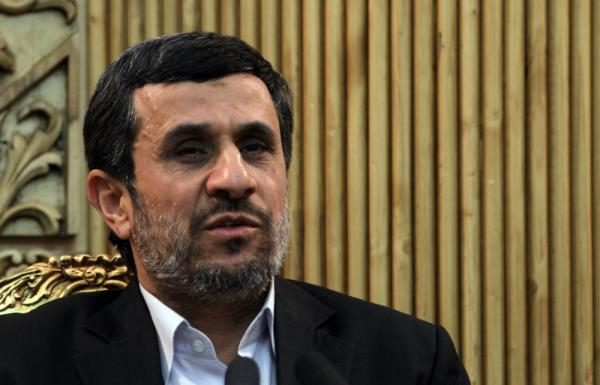 Iranian President Mahmoud Ahmadinejad speaks to the press prior upon his arrival at Tehran's Mehrabad Airport on Jan. 14.