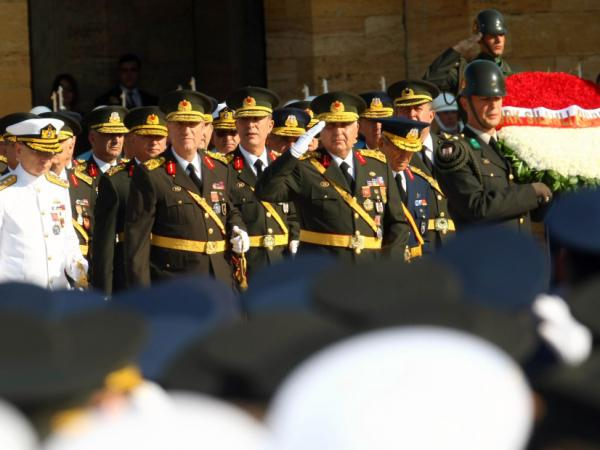 Turkish army generals, including the acting chief of staff General Necdet Ozel, take part in the Victory Day celebrations, marking the 89th anniversary of Turkey's Independance War in Ankara on Aug. 30, 2011. Turkey's military has historically held significant sway in the country.