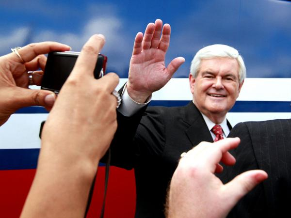 Newt Gingrich greets supporters during a rally at Wings Plus in Coral Springs, Fla. on Jan. 25. The GOP candidates meet in Jacksonville Thursday night for a final debate before Tuesday's primary.