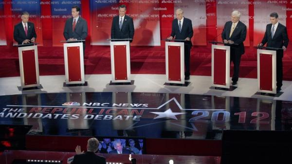 Jon Huntsman, Rick Santorum, Mitt Romney, Ron Paul, Newt Gingrich and Rick Perry, left to right, listen to a question from NBC moderator David Gregory during a Republican presidential candidate debate in Concord, N.H., Sun. Jan. 8. This was Huntsman's last major debate.