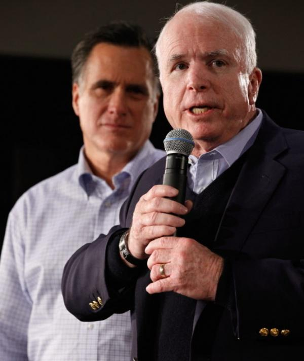 Sen. John McCain, right, as he endorsed Mitt Romney's bid for the presidency earlier this month.