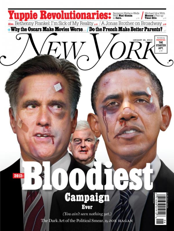 "Joe Hagan's <a href=""http://nymag.com/news/features/negative-campaigning-2012-1/"">cover story</a> in the January 22, 2012 edition of <em>New York Magazine</em> details why the 2012 election will be the ""most negative in the history of American politics."""