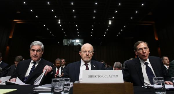 FBI Director Robert Mueller, Director of National Intelligence James Clapper and CIA Director David Petraeus appear before the Senate Select Committee on Intelligence on Capitol Hill in Washington, D.C. on Tuesday.