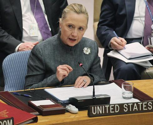 Secretary of State Hillary Rodham Clinton during her address to the U.N. Security Council this afternoon.