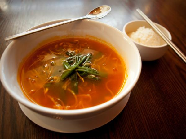 <em>Haechangkuk</em>, a Korean homestyle soup made with beef broth and bean sprouts, is a favorite hangover cure.