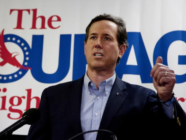 Rick Santorum speaks Tuesday night in Las Vegas.