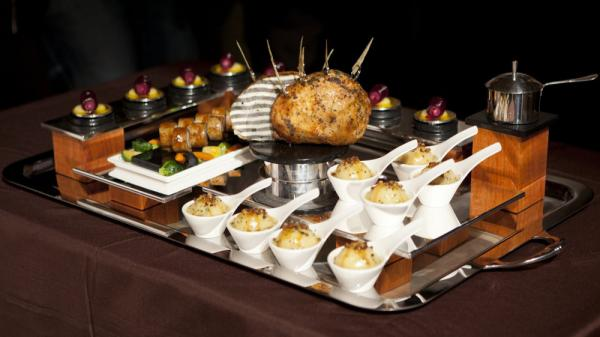 Richard Rosendale's winning platter, inspired by Frank Lloyd Wright's Fallingwater house, is on display at the 2012 Bocuse d'Or USA competition at the Culinary Institute of America in Hyde Park, N.Y.
