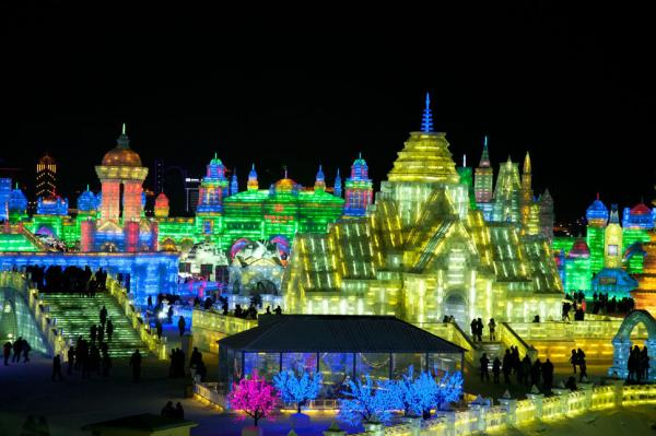 An impressive display of ice sculptures at the annual Harbin Ice Festival, China's technicolor frozen wonderland.