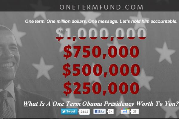 "Screenshot of Romney campaign's ""One-Term"" web fundraiser."