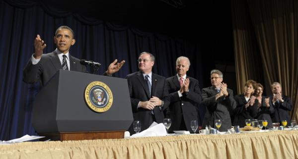 President Obama makes a point at the National Prayer Breakfast in Washington, Thursday, Feb. 2, 2012.