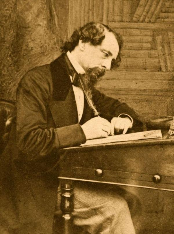 Dickens was a writer and an actor — when he was working at his desk, he'd get up, go over to a mirror, act out his characters' lines, and then go back to his desk to write them down.