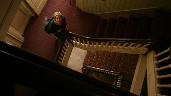 Claire (Sara Paxton), a 20-something desk clerk at an old New England inn, decides to investigate whether the hotel is haunted in director Ti West's latest film, <em>The Innkeepers</em>.