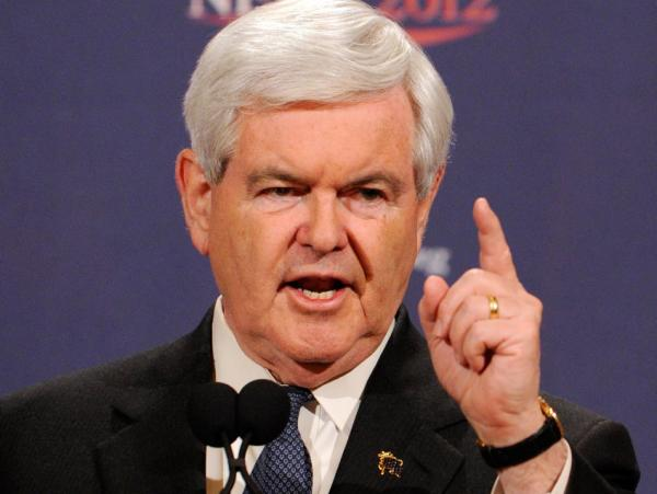 Newt Gingrich speaks at a news conference Saturday in Las Vegas, Nev. Based on actual vote returns, Newt Gingrich came in second place in Nevada's caucus, but he vowed to stay in the race until the party convention this summer.