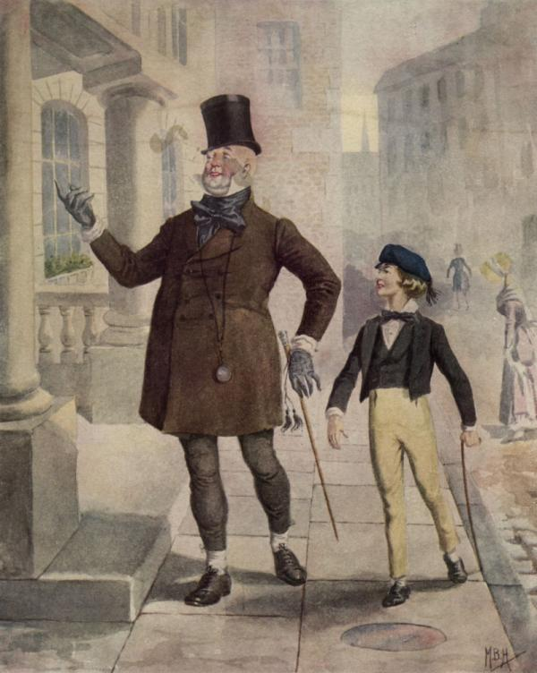 <em></em><em>David Copperfield</em> was Dickens' favorite work — and the first book he wrote in the first person. Above, an illustration circa 1850 depicts Mr. Micawber and young Copperfield. <em></em>