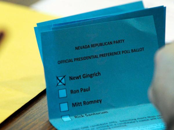 Caucuses have been plagued by embarrassing problems this election season, but they're an American tradition. Here, a ballot from Nevada precinct 3726 shows a vote for former Speaker of the House Newt Gingrich.