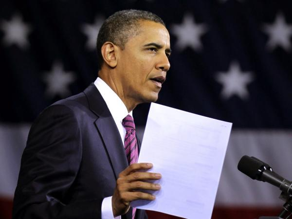U.S. President Barack Obama delivers remarks on the economy Feb. 1, 2012 at the James Lee Community Center in Falls Church, Virginia. The Obama administration has prevented church run universities, hospitals and charities from being exempt from birth control coverage requirements.