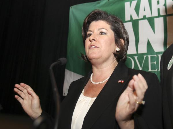 Georgia gubernatorial candidate Karen Handel talks with supporters at an election-night party in Atlanta in August. Handel, who lost a runoff for the GOP nomination, then became a top official at Susan G. Komen for the Cure.