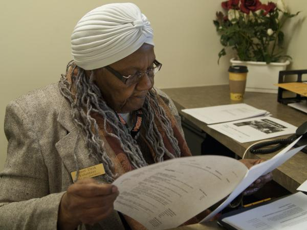 Ella Washington, 83, works as a receptionist three days a week at Holly Hall Apartments, a housing complex for disabled and elderly people in Silver Spring, Md.