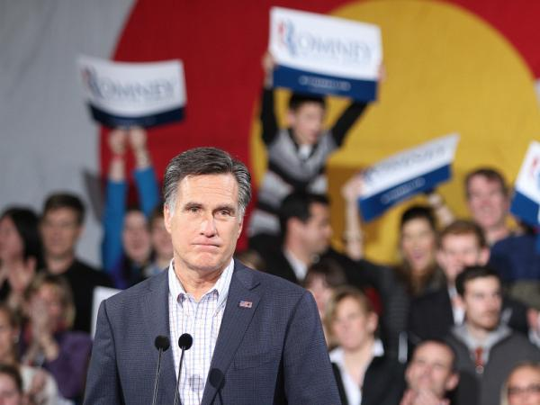 Republican presidential candidate Mitt Romney speaks to supporters at a rally on Feb. 7, 2012 in Denver, Colorado. Santorum defeated his challengers in Missouri's non binding primary, Minnesota's caucus and Colorado's caucus on Feb. 7. 2012.
