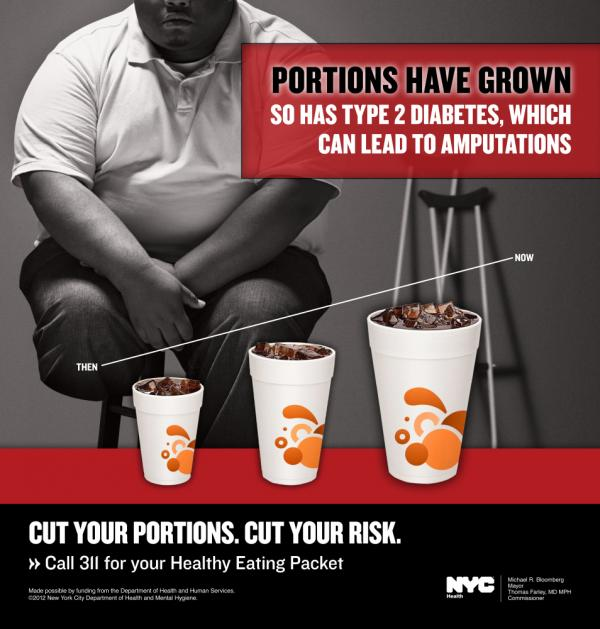 A New York City Department of Health campaign promoting portion control depicts an amputee. But is he really?