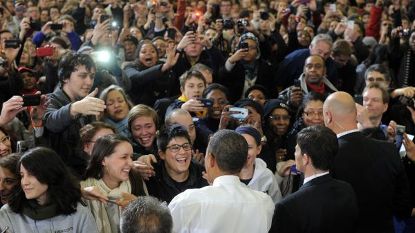 President Obama greets students after speaking at the University of Michigan in Ann Arbor, Mich., on Jan 27. Young Republicans say they see an opportunity in 2012 to dent Obama's popularity among the youngest voters.