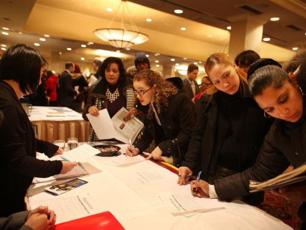 Job seekers attend a career fair in midtown Manhattan on Feb. 6, 2012 in New York City. In signs that the U.S. economy is recovering, the U.S. unemployment rate fell to 8.3% from 8.5%, its lowest level in three years. However, there are other employment measures to consider.